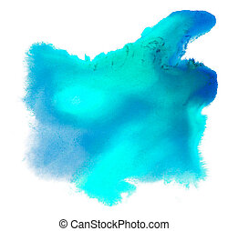 spot watercolor blue blotch texture isolated on white background