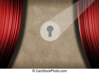 Spoted keyhole on the stage wall with red curtains. 3D...