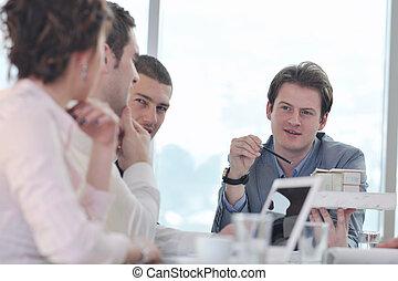 spotkanie, architekt, handlowy zaprzęg