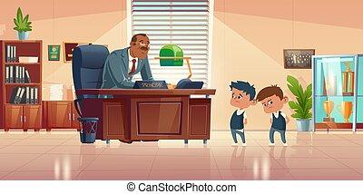spotkanie, biuro, nauczyciel, dzieciaki, principals