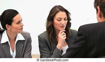 spotkanie, businessteam, pracujący