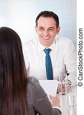 spotkanie, dwa, handlowy zaludniają