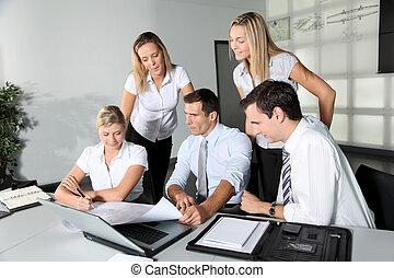 spotkanie, grupa, handlowe biuro, ludzie