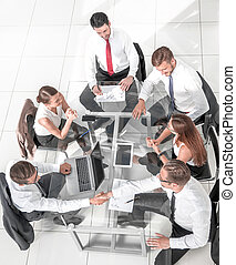 spotkanie, grupa, handlowy zaludniają