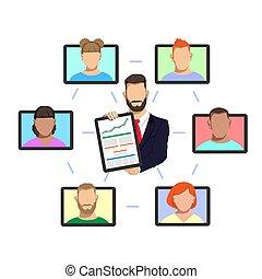 spotkanie, handlowy, online