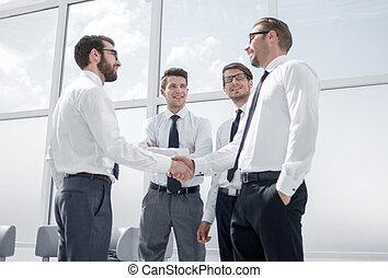 spotkanie, handlowy wzmacniacz, w, biuro