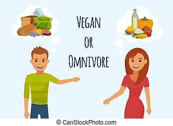 spotkanie, inny, data, wektor, dwa, o, albo, myślenie, człowiek, question., każdy, concept., mięso, wegetarianin, młodzież, zjadacz, dziewczyna, żywienie, illustration.