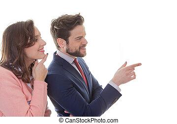 spotkanie, młody, handlowy zaludniają