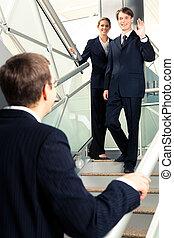 spotkanie, od, handlowy wzmacniacz