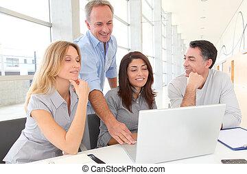 spotkanie, praca, grupa, handlowy zaludniają