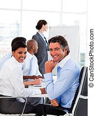 spotkanie, prezentacja, handlowy