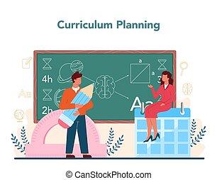 spotkanie, profesor, concept., planowanie, nauczyciel, parents., program