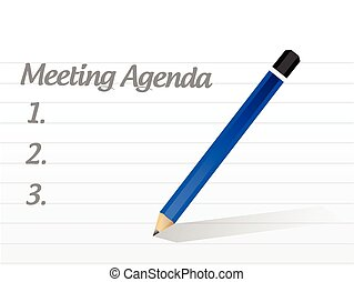 spotkanie, projektować, porządek dzienny, ilustracja
