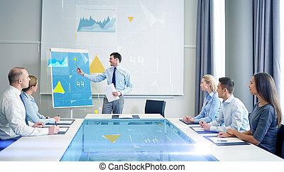 spotkanie, uśmiechanie się, grupa, businesspeople, biuro