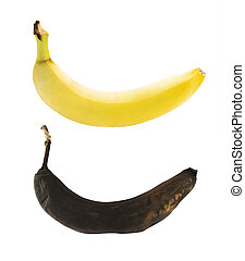 Spotless yellow and rotten bananas isolated over white background