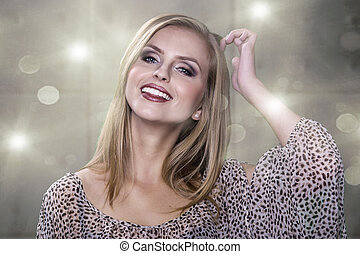 Spotless young blond woman smiles at you