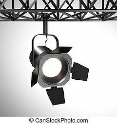Spotlight , 3d render of industrial spot light equipment