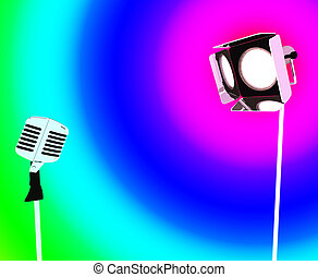Spotlight And Microphone Shows Concert Entertaining Or Talent