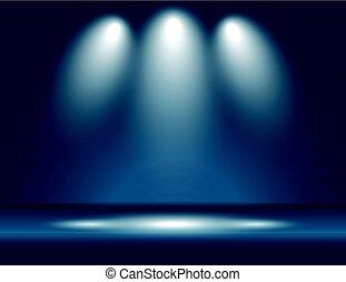 Spotlight blue light rays room studio background vector