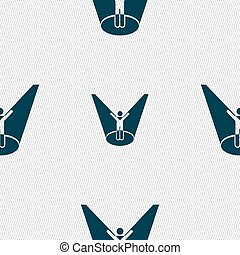 Spotlight icon sign. Seamless pattern with geometric texture. Vector