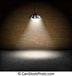 Spotlight On Brick Wall Background.