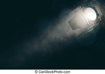 Spotlight on smoky backdrop with copyspace