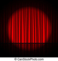 Spotlight on stage curtain vector illustration