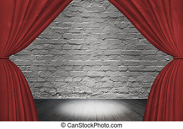 Spotlight on stage with red curtain