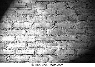 Spotlight on the brick wall