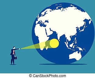 Spotlight on the world. Concept business vector illustration.