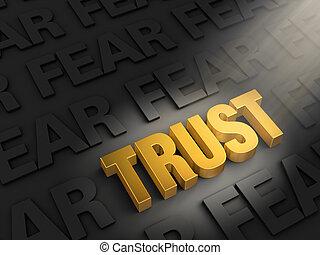 Spotlight On Trust Not Fear - A spotlight illuminates a...