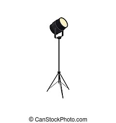 Spotlight on white background. Vector flat illustration.