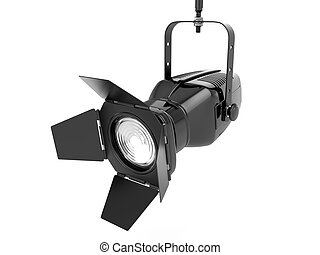 ... Spotlight Or Stage Light On White Isolated Background. 3d