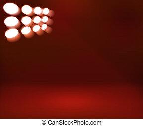 spotlight, röd, rum, bakgrund