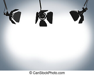 Very high resolution 3D rendering of a professional spotlight.