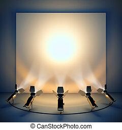 spotlight., vide, fond, étape
