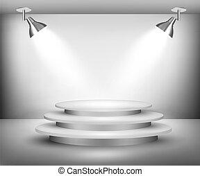spotlights., ショールーム, vector.