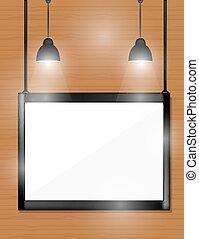 spotlights., 壁, 木製である, 黒, フレーム, 空
