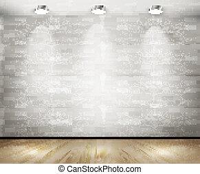 spotlights., 白い煉瓦, 部屋, vector.