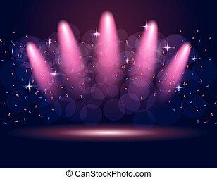 spotlights., 紫色, イラスト, バックグラウンド。, 照明, 演壇, abstraction., ステージ, 勾配