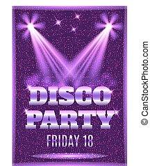 spotlights., affiche, illustration, disco, vecteur, gabarit, fête, briller