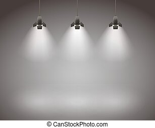Spotlights - Studio spotlight background with lamps - vector...