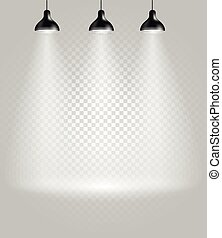 spotlights., helder, transparant, achtergrond, toneel