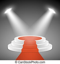 Spotlights illuminate stage pedestal with red carpet. Award ceremony vectror concept background