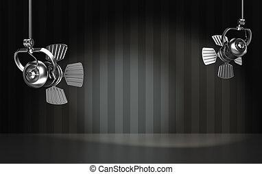 Spotlights illuminate the scene. 3D render.