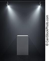 spotlights., interpretazione, podio, bianco, 3d