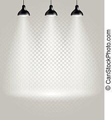 spotlights., lysande, transparent, bakgrund, arrangera