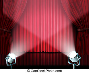 Spotlights on red velvet cinema curtains - Theater stage...