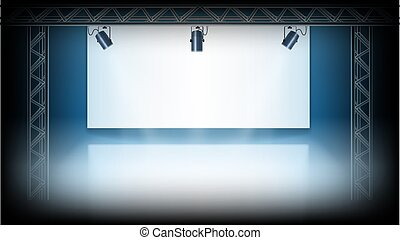Spotlights On The White Stage