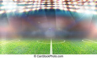 spotlights., pole, jasny, piłka nożna